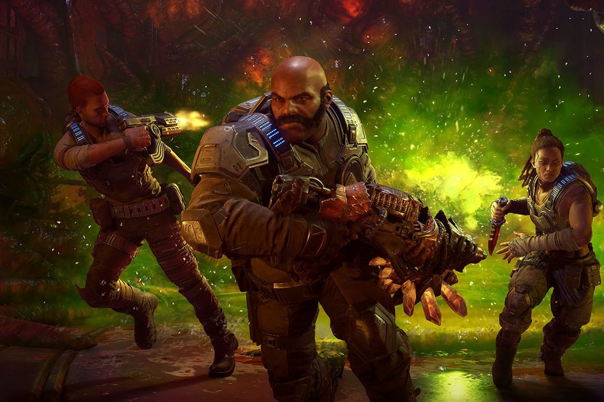 Three characters from Gears 5, known as Hivebusters, in key art from Gears 5. The Venom, a chemical weapon meant to kill the Hive and everything in it, chases them as they fire back over their shoulder into the mist.