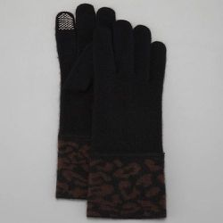"""<strong>Portolano</strong> Cashmere Leopard Cuff Tech Gloves in Black/Chocolate, <a href=""""http://www.bergdorfgoodman.com/Portolano-Cashmere-Leopard-Cuff-Tech-Gloves-Black-Chocolate/prod91080038/p.prod"""">$78</a>"""