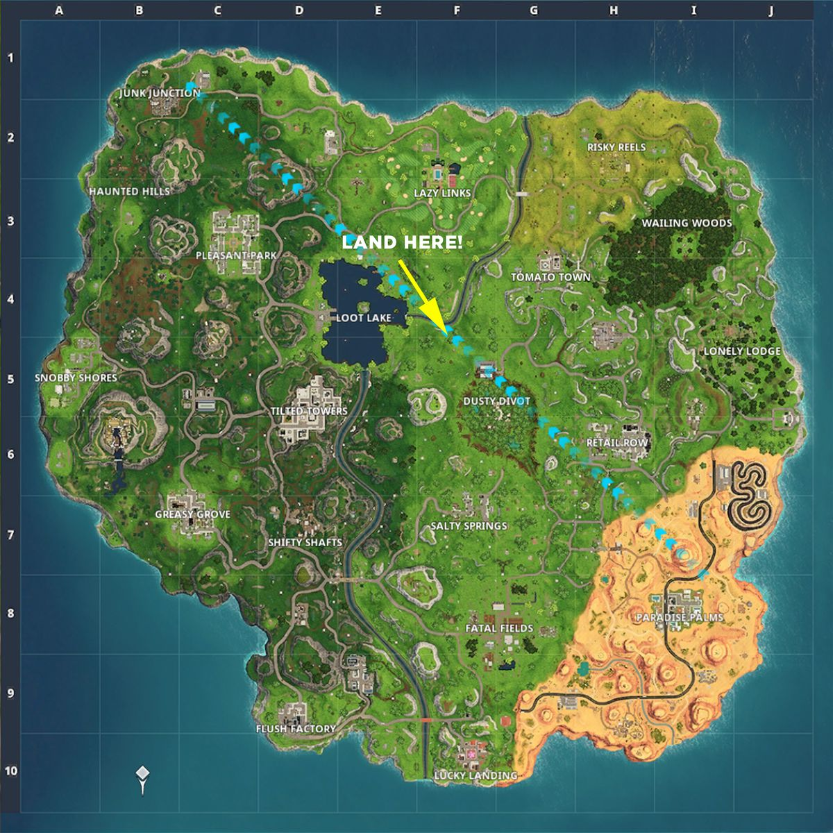 fortnite dusty depot map guide