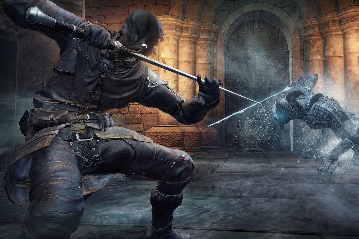 Dark Souls 3 screen showing a sword fight