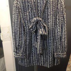 Tie-neck blouse, $95