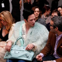 The fur flies at Isaac Mizrahi. Photo by Amy Sussman/Getty Images for FIJI Water.