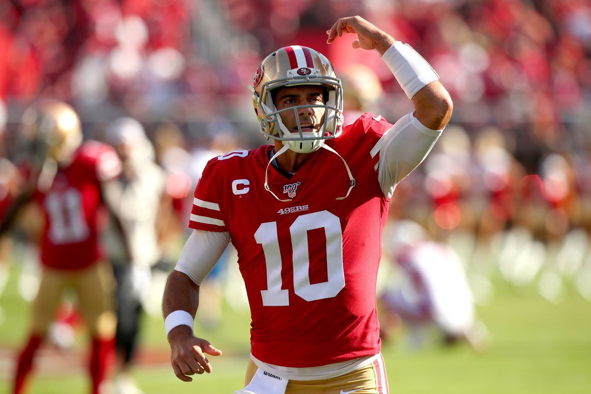 San Francisco 49ers quarterback Jimmy Garoppolo interacts with the crowd before the start of the game against the Arizona Cardinals at Levi's Stadium.
