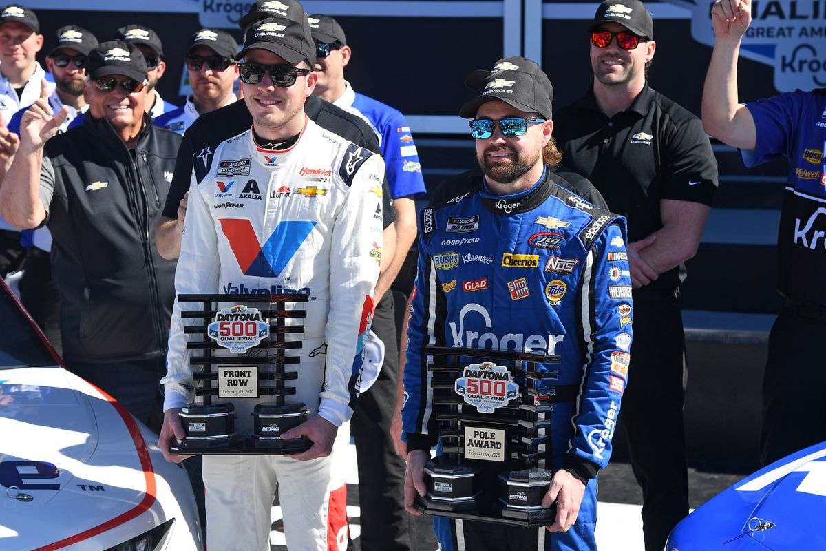 NASCAR Cup Series driver Ricky Stenhouse Jr. (right) wins pole award and driver Alex Bowman (left) is the runner up during qualifying for the Daytona 500 at Daytona International Speedway.