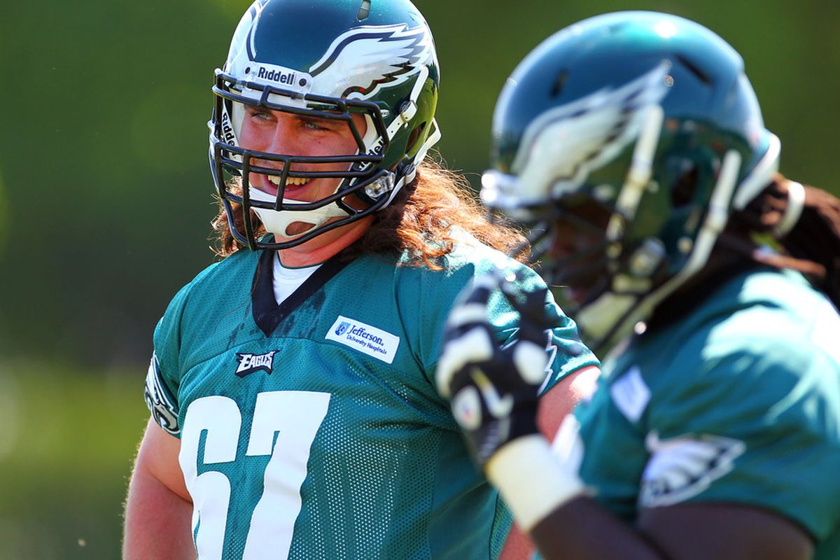 PHILADELPHIA, PA - MAY 12:   Dennis Kelly #67 of the Philadelphia Eagles looks on during rookie minicamp at their practice facility on May 12, 2012 in Philadelphia, Pennsylvania. (Photo by Rich Schultz /Getty Images)