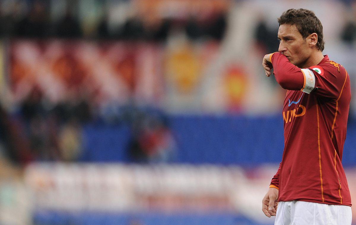 AS Roma's captain Francesco Totti reacts