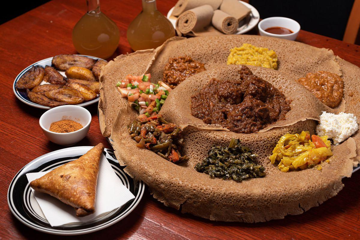 Ethiopian stews on injera.