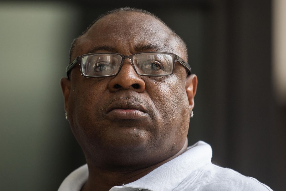 """Keith Walker, who claims he was tortured by former Chicago police Cmdr. Jon Burge and his """"Midnight Crew"""" into confessing to the murder of Shawn Wicks, stands outside the Everett M. Dirksen U.S. Courthouse in the Loop during a press conference, Tuesday afternoon, Aug. 10, 2021. Walker, who was incarcerated for almost three decades and later exonerated, filed a lawsuit against Burge, the City of Chicago and other involved officers."""