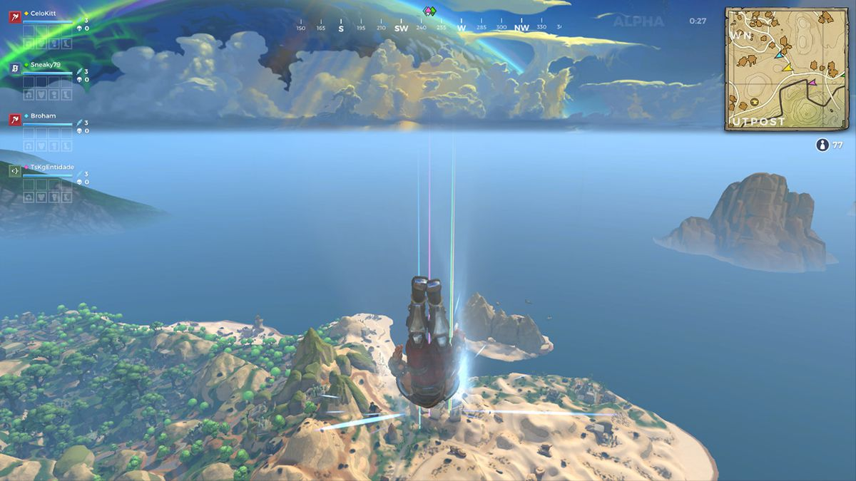 A character drops from the sky in Realm Royale