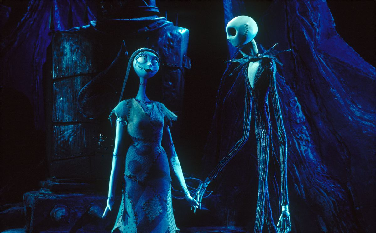 "(L-R) Sally (Catherine O'Hara), Jack Skellington (Chris Sarandon) in ""Tim Burton's The Nightmare Before Christmas."" ©Disney Enterprises, Inc. All rights reserved."