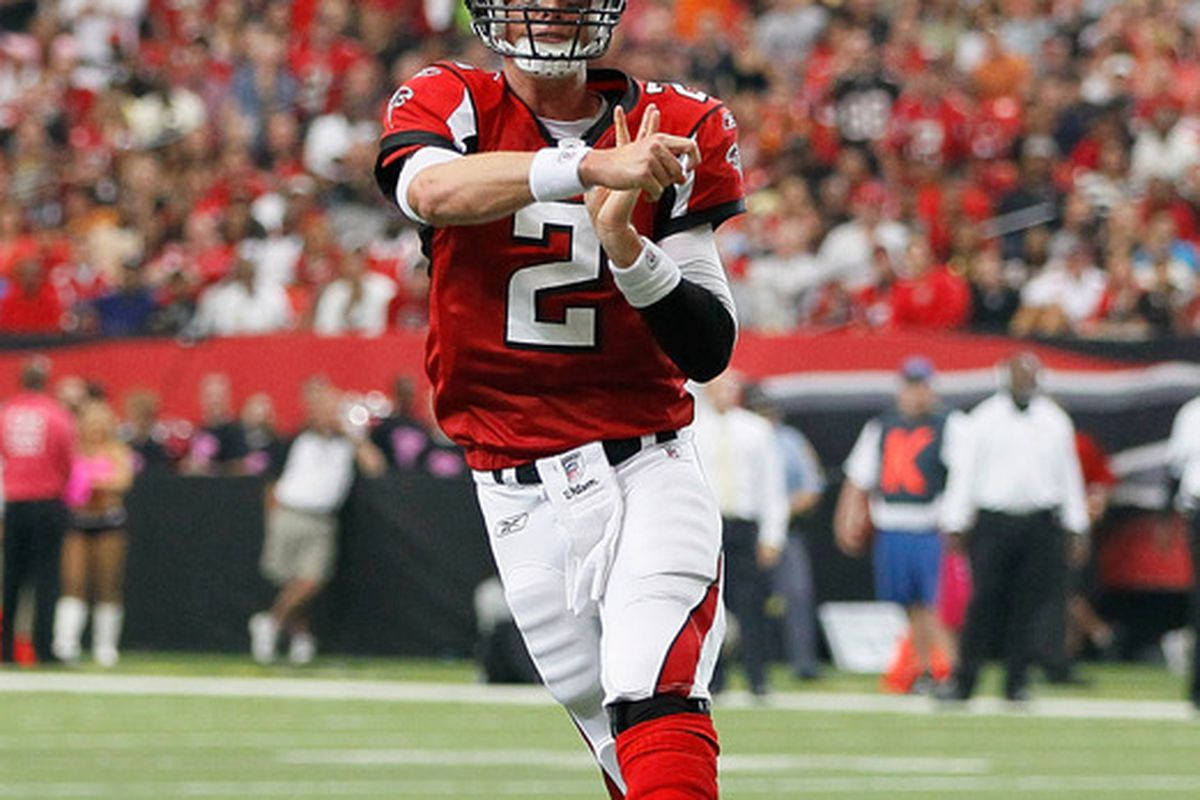 ATLANTA - OCTOBER 24:  Matt Ryan #2 of the Atlanta Falcons passes for a touchdown against the Cincinnati Bengals at Georgia Dome on October 24 2010 in Atlanta Georgia.  (Photo by Kevin C. Cox/Getty Images)