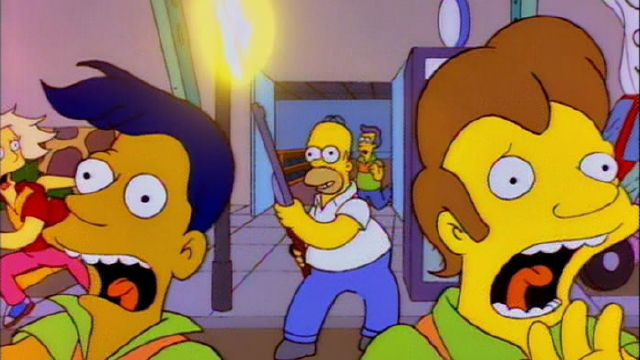 Homer Simpson, firing a shotgun as terrified bystanders flee, in an effort to market the bowling alley where he works (And Maggie Makes Three, season six, episode 13)