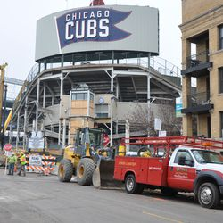 Another view showing the contractors outside the ballpark