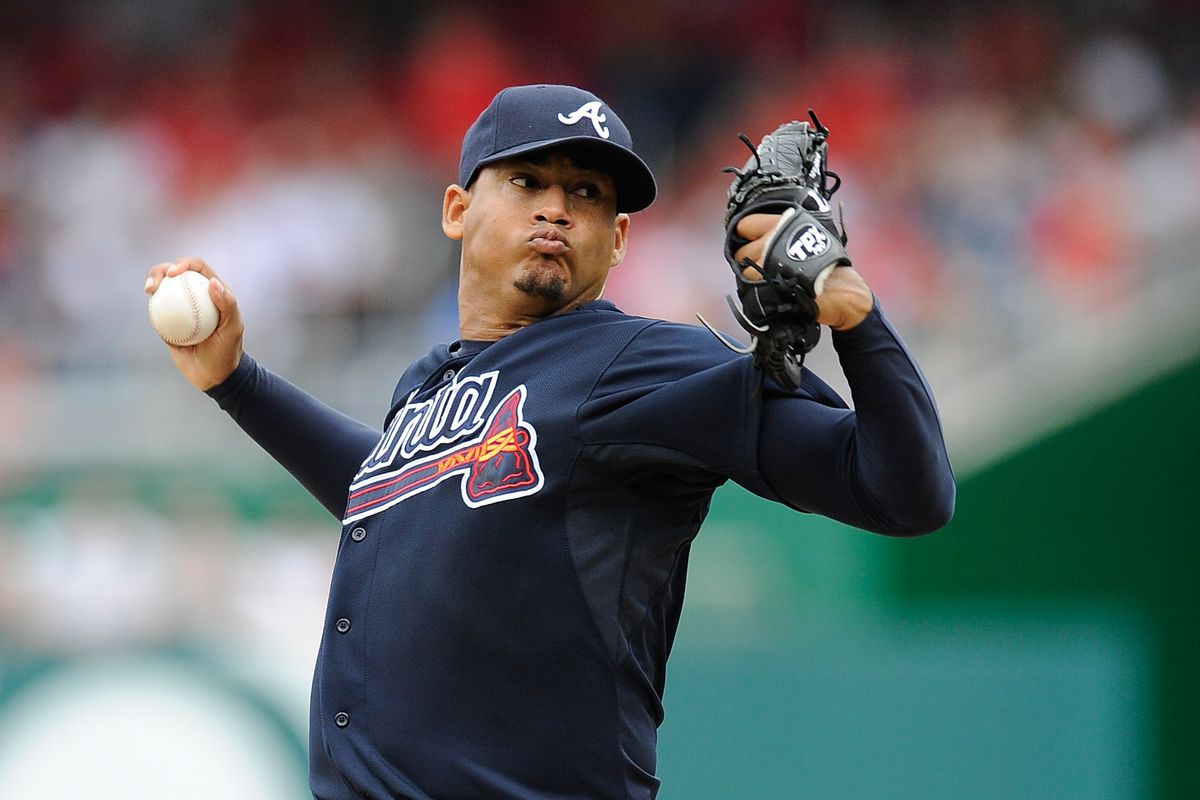 WASHINGTON, DC - JULY 22:  Jair Jurrjens #49 of the Atlanta Braves throws a pitch against the Washington Nationals at Nationals Park on July 22, 2012 in Washington, DC.  (Photo by Patrick McDermott/Getty Images)