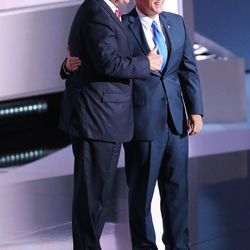 Donald Trump stands with running mate Mike Pence during the National Republican Convention in Cleveland on Wednesday, July 20, 2016.