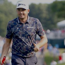 Keegan Bradley gives the crowd the thumbs up after making his par putt in the 2019 Travelers Championship Third Round at the TPC River Highlands in Cromwell, CT on June 22, 2019.