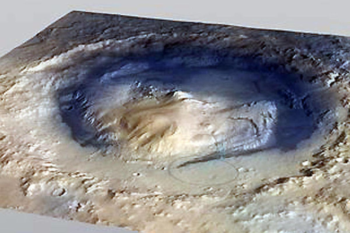 This undated image provided by NASA shows the Gale Crater on Mars. This image shows the landing site for the rover Curiosity, which is scheduled in August 2012 to touch down near the foot of Mount Sharp, a mountain inside the crater on the red planet. On