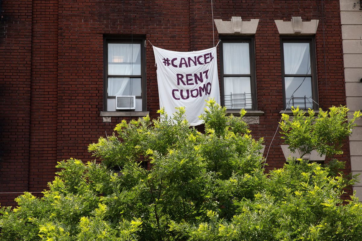 Crown Heights residents called for a moratorium on rent during the coronavirus outbreak, June 24, 2020.