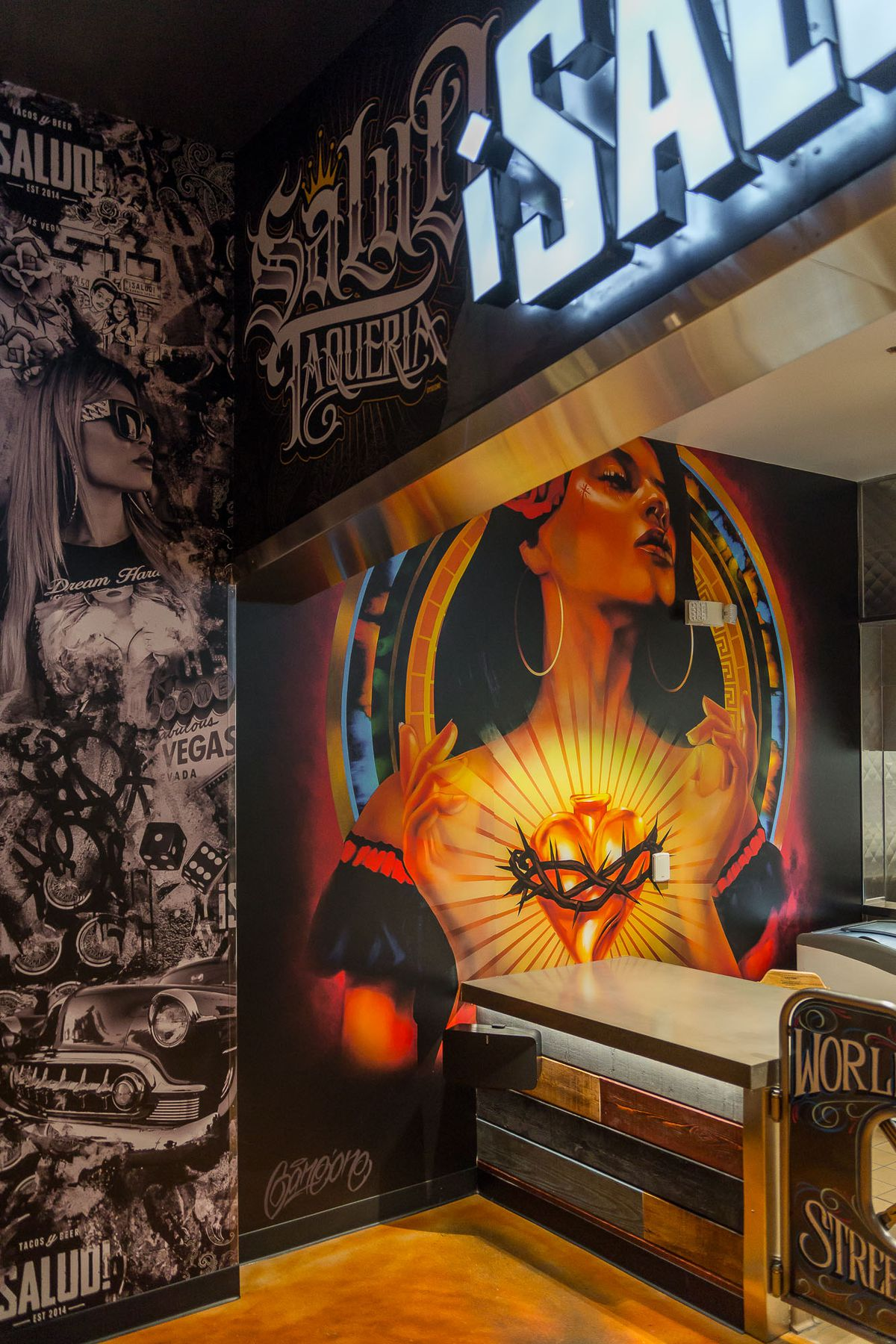 Golden Heart mural at ¡Salud Tacos!