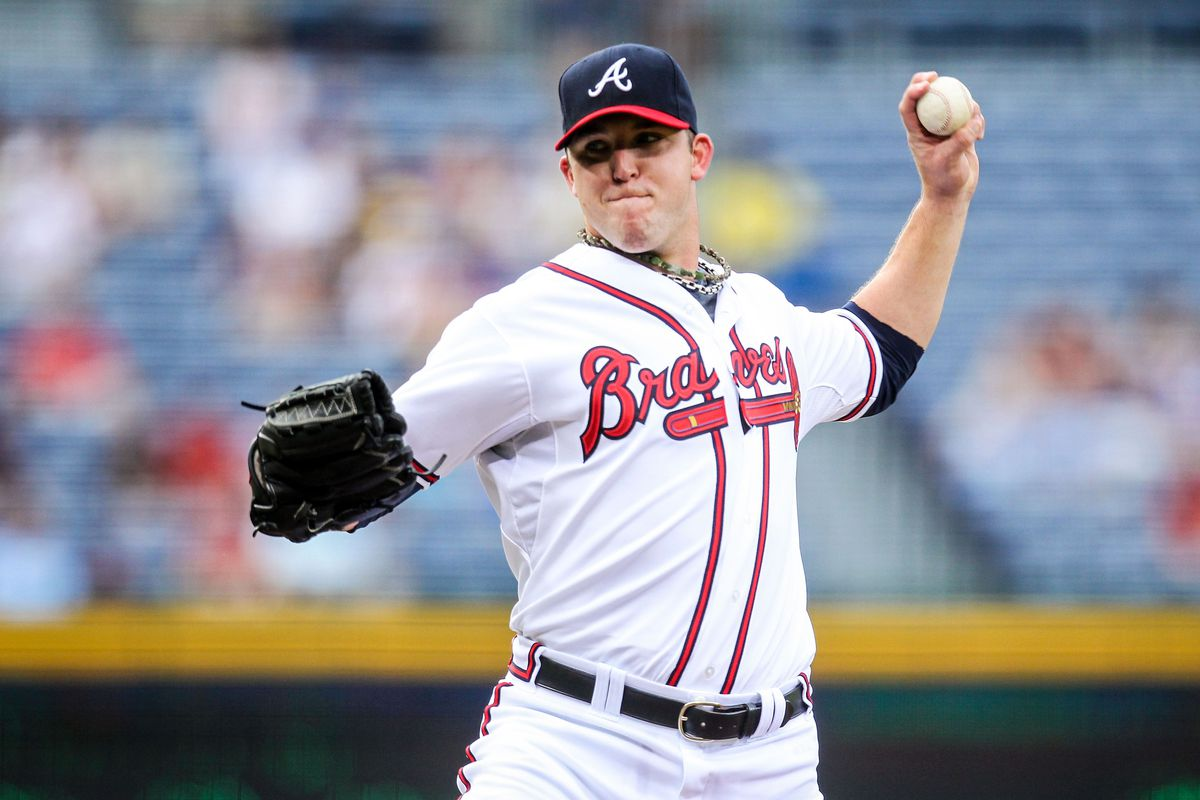 August 15, 2012; Atlanta, GA, USA; Atlanta Braves starting pitcher Paul Maholm (17) pitches in the first inning against the San Diego Padres at Turner field. Mandatory Credit: Daniel Shirey-US PRESSWIRE