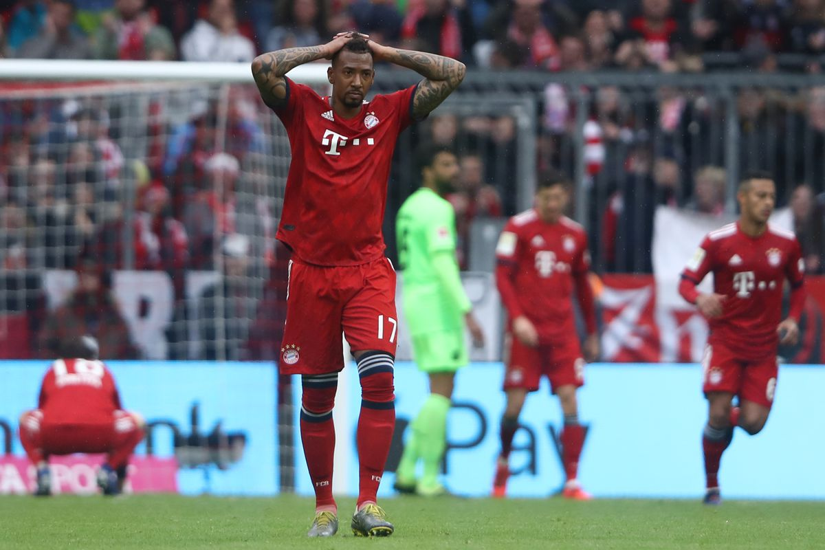 MUNICH, GERMANY - MAY 04: Jerome Boateng of Muenchen reacts during the Bundesliga match between FC Bayern Muenchen and Hannover 96 at Allianz Arena on May 04, 2019 in Munich, Germany.