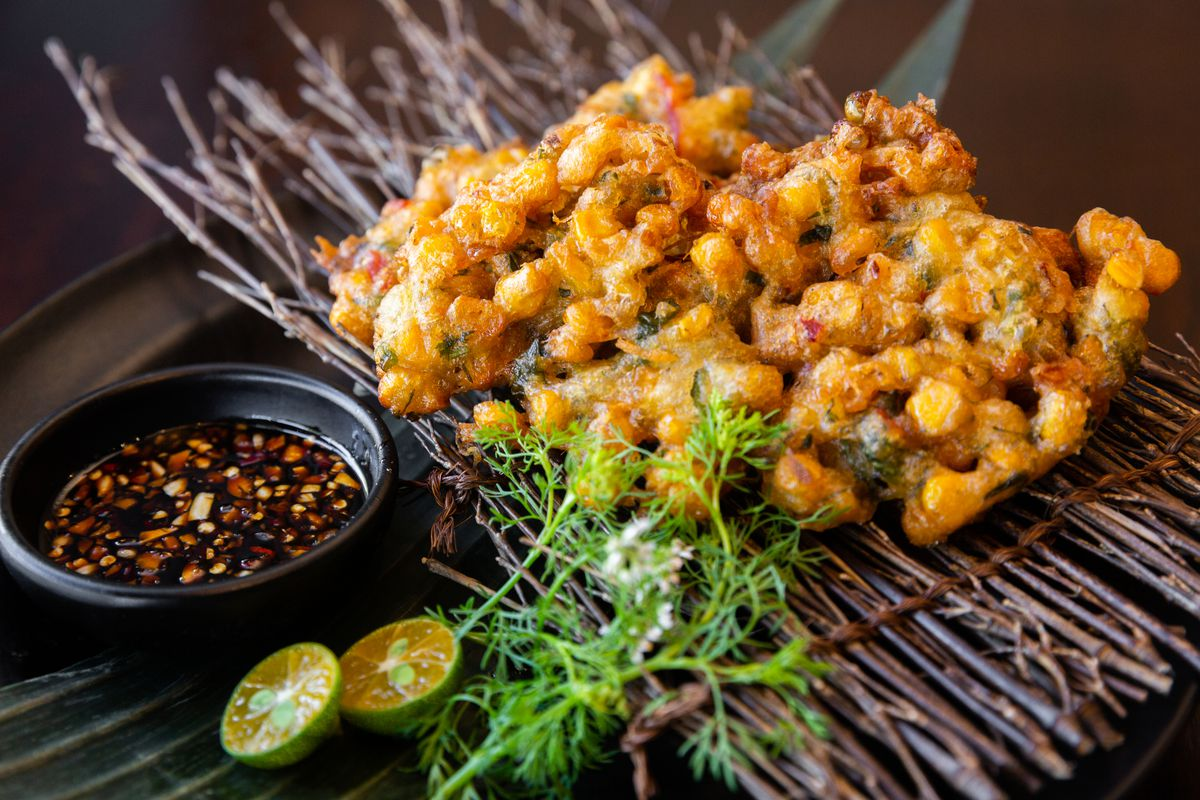 Corn and okra fritters
