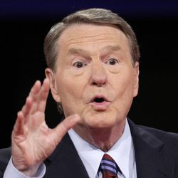 In a Sept. 26, 2008 file photo, Jim Lehrer speaks prior to the start of the presidential debate at the University of Mississippi in Oxford, Miss. For the first time in two decades, a woman has been tapped to moderate a presidential debate. CNN's Candy Crowley will moderate one of three October debates between President Barack Obama and Republican challenger Mitt Romney, the Commission on Presidential Debates announced Monday. Jim Lehrer of PBS and Bob Schieffer of CBS News will moderate the other two debates. Lehrer will moderate the first debate on Oct. 3 in Denver, focused on domestic topics.