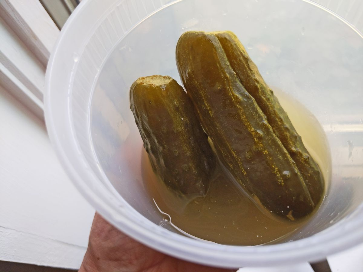 A plastic container with dull green pickles sticking upward.