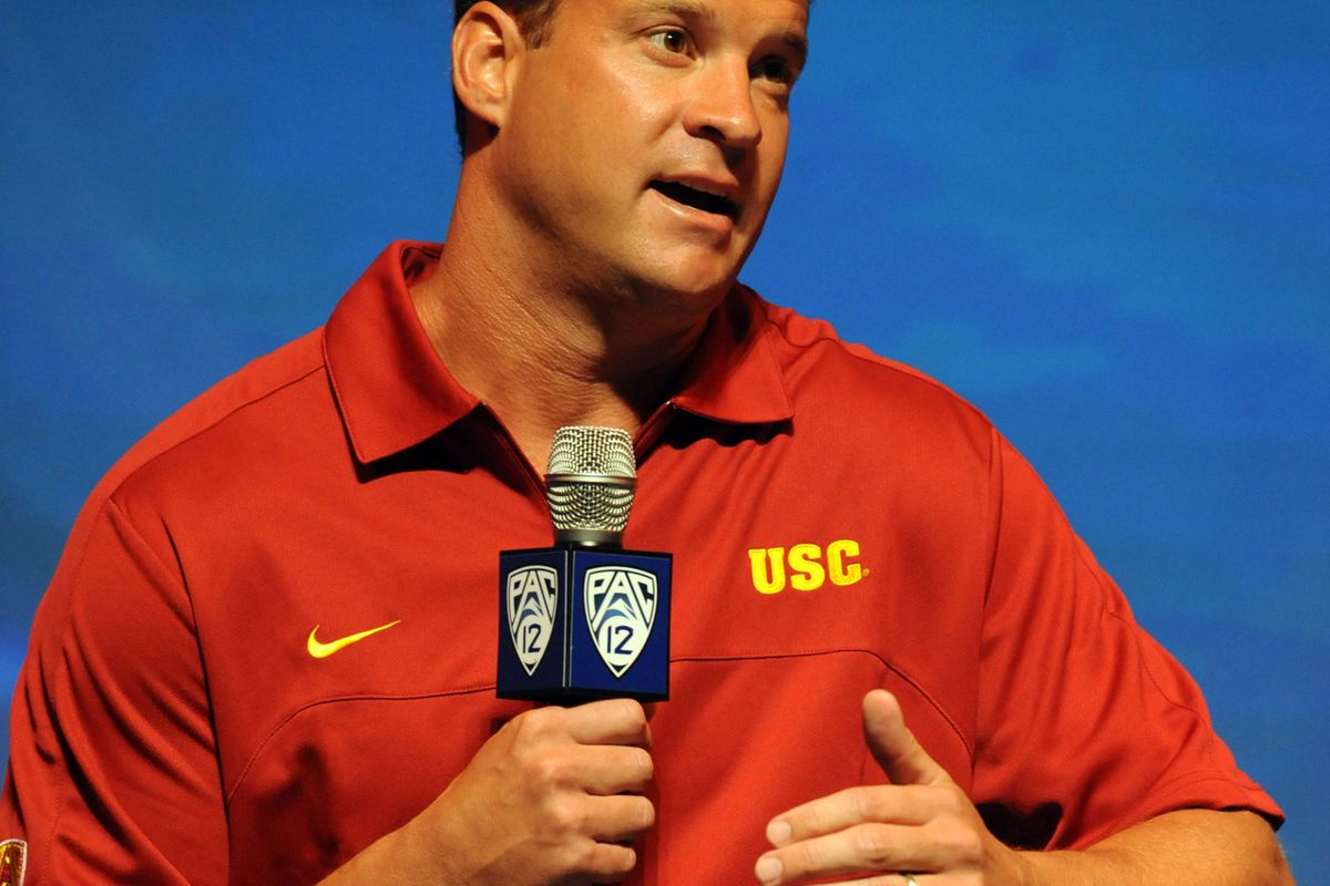 July 24, 2012; Los Angeles, CA, USA;    University of Southern California Trojans head coach Lane Kiffin talks to reporters during PAC-12 Media Day at Universal Studios Hollywood. Mandatory Credit: Jayne Kamin-Oncea-US PRESSWIRE