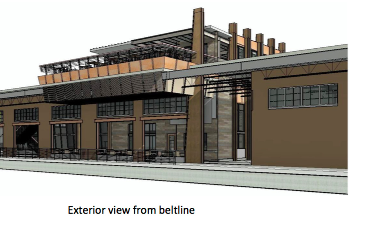 A rendering of a proposed brewery on the Beltline's Eastside Trail.
