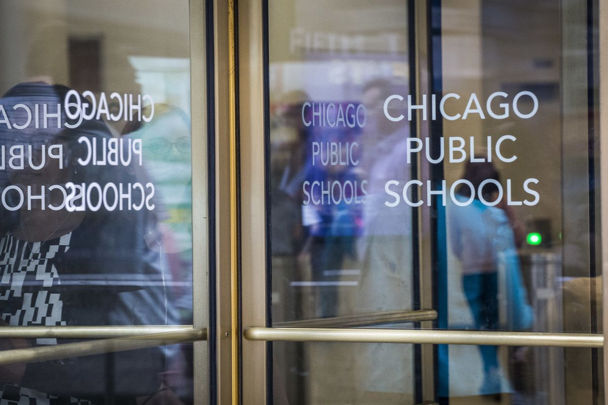 Chicago Public Schools sign at CPS headquarters.