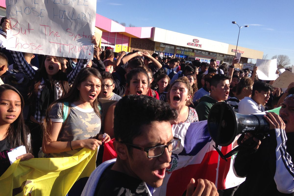 Denver students chant in protest of Donald Trump.