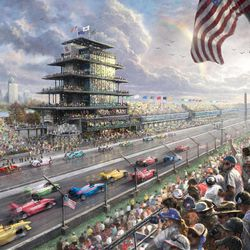 """This undated photo provided by The Thomas Kinkade Company via PR Newswire shows Thomas Kinkade's New Studio Masterwork, """"Indy Excitement, 100 Years of Racing at Indianapolis Motor Speedway."""" Kinkade, whose brushwork paintings of idyllic landscapes, cottages and churches have been big sellers for dealers across the United States, died Friday, April 6, 2012, a family spokesman said."""