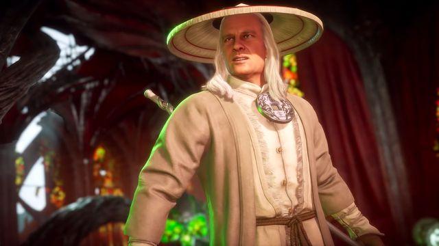 A still of Earthrealm Raiden, modeled after actor Christopher Lambert, from Mortal Kombat 11