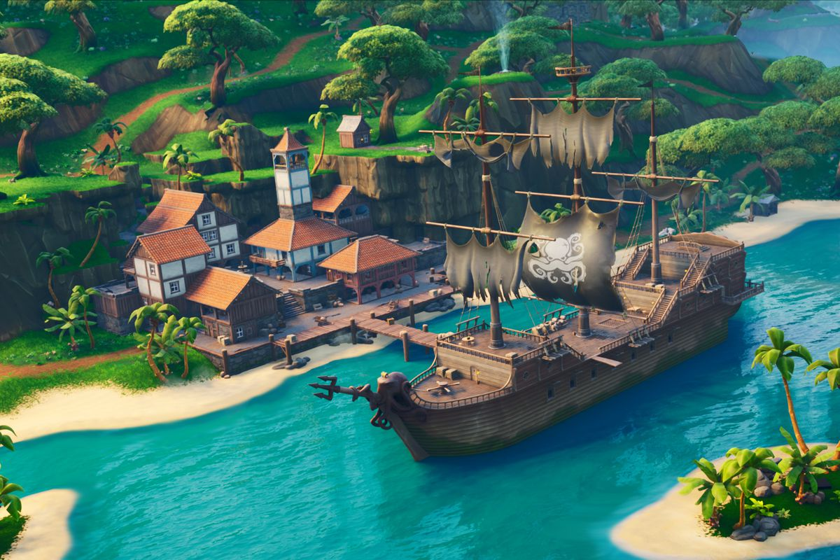"""""""Fortnite"""" launched its eighth season on Thursday morning. This photo shows the new Lazy Lagoon location."""
