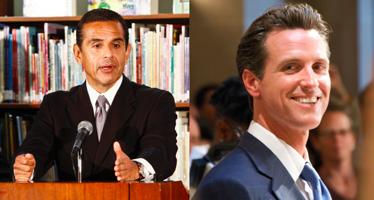 Antonio Villaraigosa and Gavin Newsom (Photos: David Starkopf / Office of the Mayor, Brian Kusler / Creative Commons)