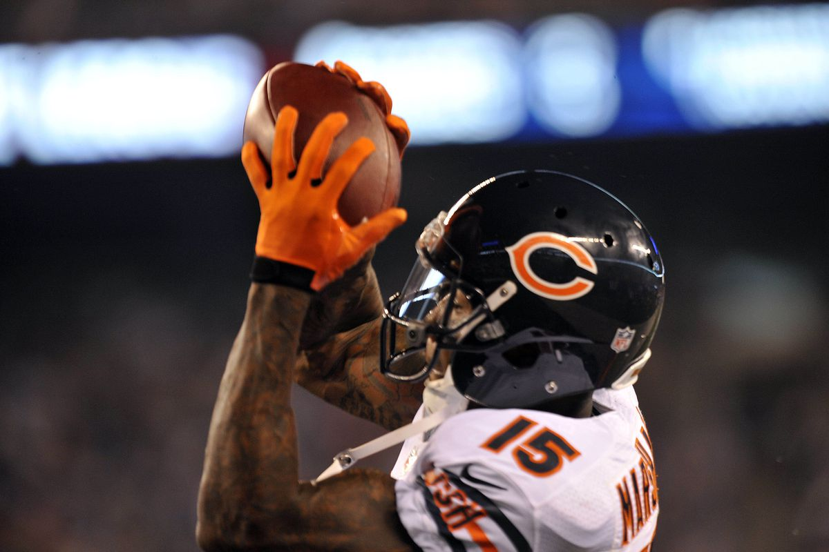 Aug 24, 2012; East Rutherford, NJ, USA;  Chicago Bears wide receiver Brandon Marshall (15) makes a touchdown catch during the first half against the New York Giants at Metlife Stadium. Mandatory Credit: Joe Camporeale-US PRESSWIRE