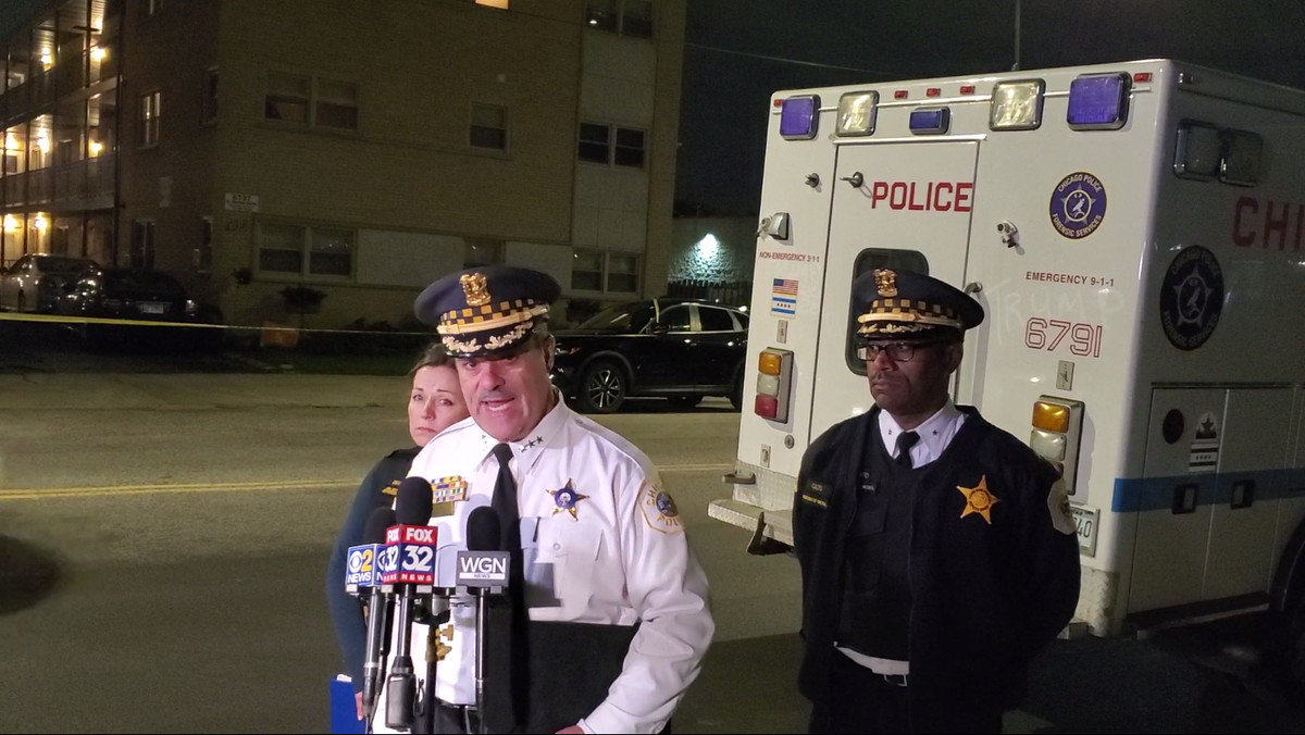 Chicago Police First Deputy Supt. Anthony Riccio speaks to reporters Saturday, Oct. 12, 2019 near an condo complex in Dunning where a 67-year-old man shot five of his neighbors.