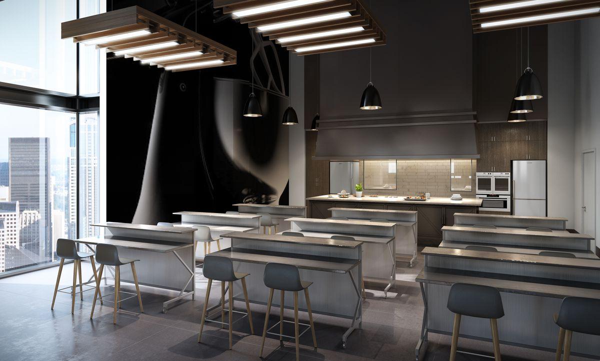 Epicurean Theatre kitchen and classroom rendering