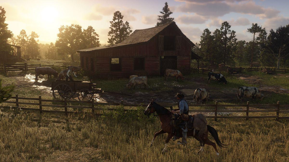 Red Dead Redemption 2 - Arthur Morgan rides past a barn