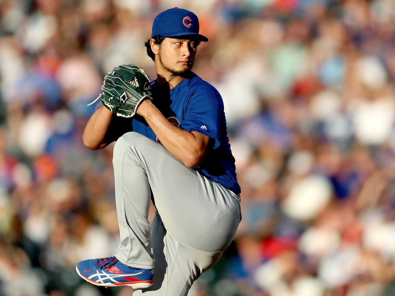 Yu Darvish during the third inning of his gem against the Dodgers Saturday night.