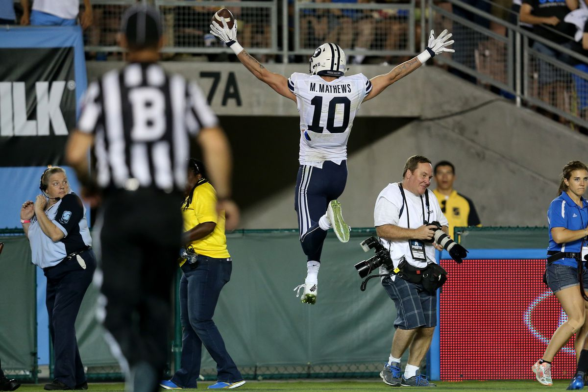 Best case: Mitch Mathews jumps to the moon after catching a huge touchdown.