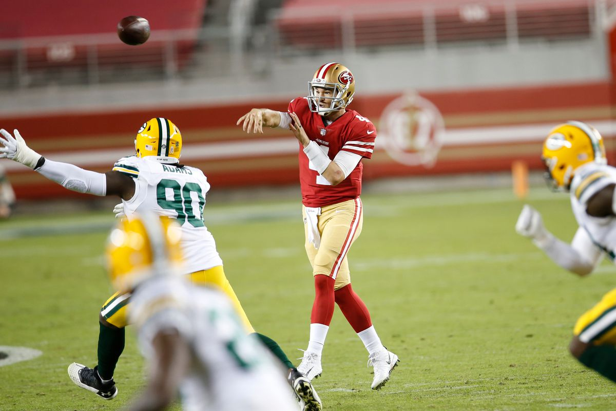 Nick Mullens #4 of the San Francisco 49ers passes during the game against the Green Bay Packers at Levi's Stadium on November 3, 2020 in Santa Clara, California.