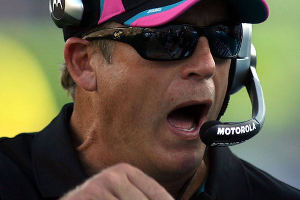 JACKSONVILLE FL - OCTOBER 03:  Head coach Jack Del Rioof the Jacksonville Jaguars shouts against the Indianapolis Colts at EverBank Field on October 3 2010 in Jacksonville Florida.  (Photo by Marc Serota/Getty Images)
