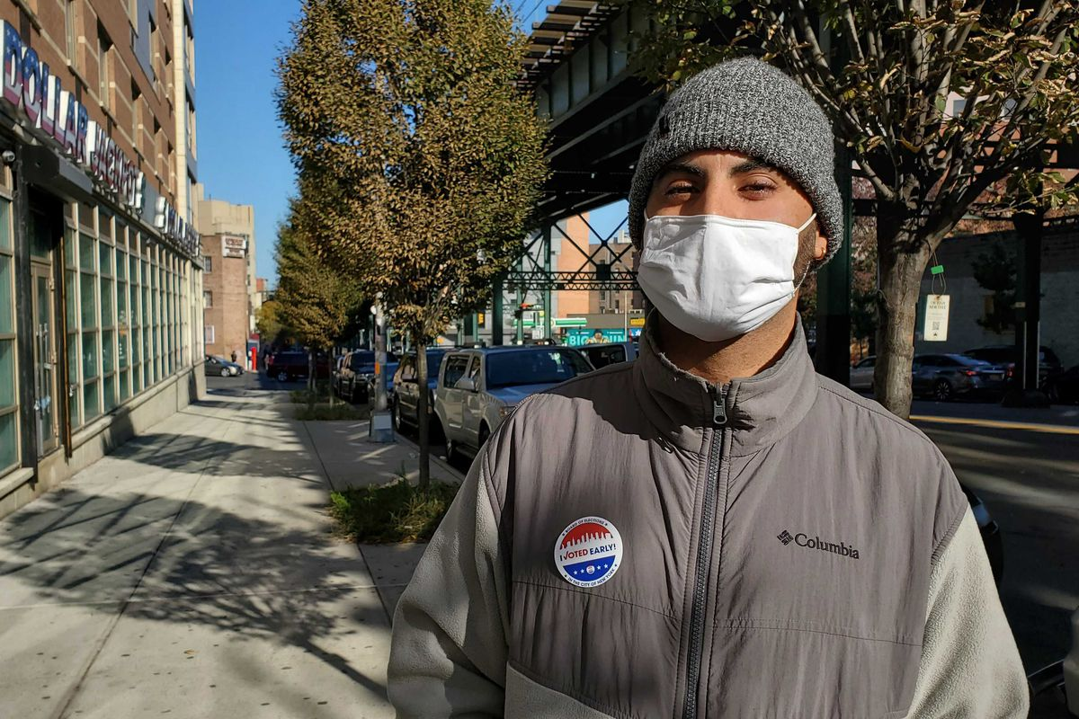 Lewis Sepulveda rode Citi Bike to his polling site in the South Bronx. Sepulveda said he had to mentally prepare himself to be around a lot of people again since he's been isolating at home, Oct. 31, 2020.