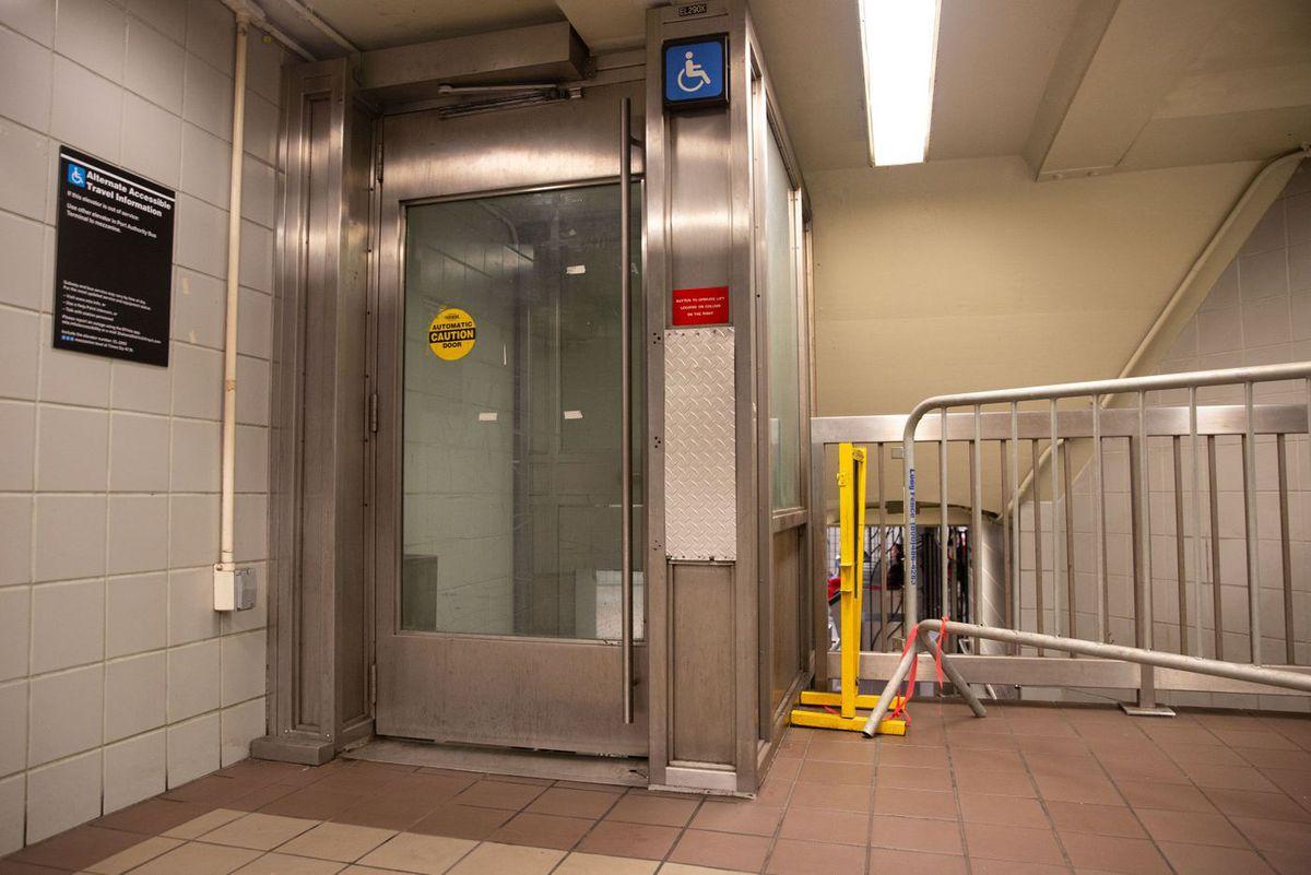Times Square station elevator