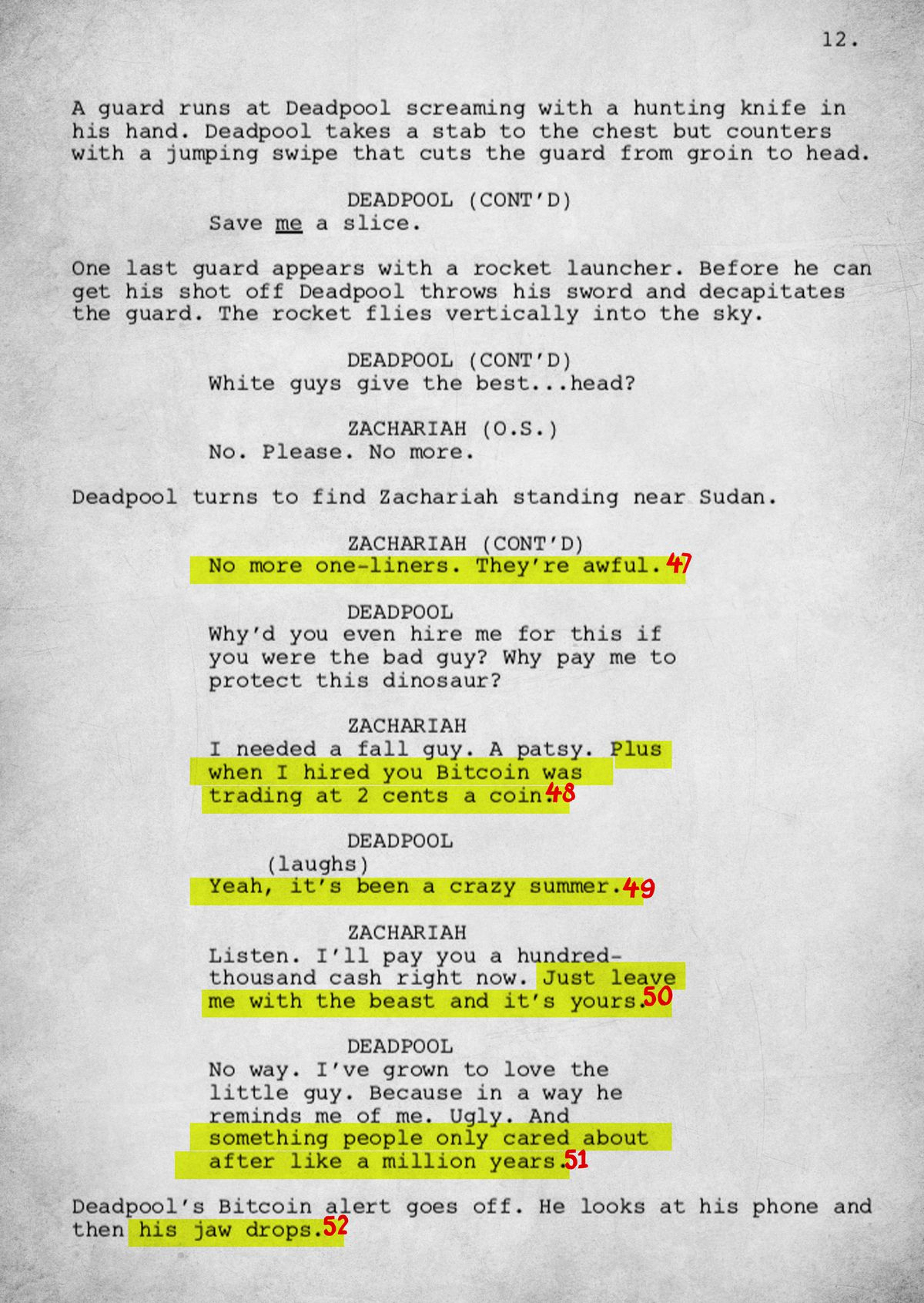 An Annotated Version of Donald Glover\'s \'Deadpool\' Script - The Ringer