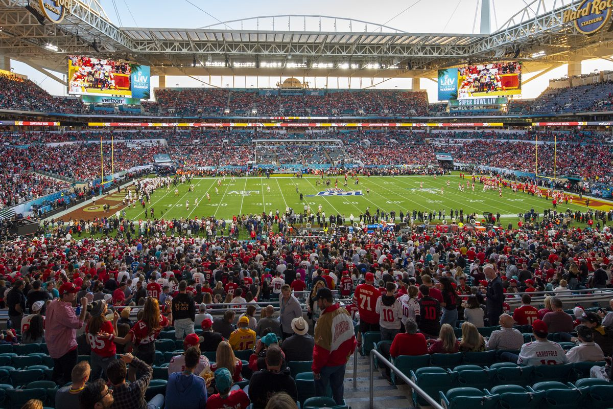 A general view of the fans in the stadium before the NFL Super Bowl LIV game between the Kansas City Chiefs and the San Francisco 49ers at the Hard Rock Stadium in Miami Gardens, FL on February 2, 2020.