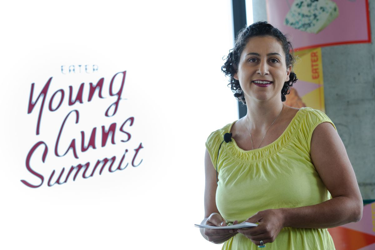 Reem Assil speaks at the Eater Young Guns Summit.