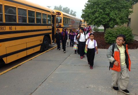 Students at Centennial Elementary in Evans arrive at school the first day district schools were open after the flooding. <em>Photo courtesy of Theresa Myers.</em>